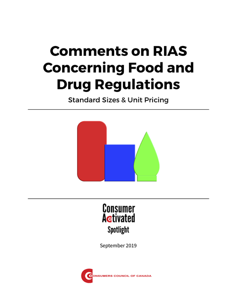 Comments on RIAS Concerning Food and Drug Regulations: Standard Sizes & Unit Pricing [EPUB]