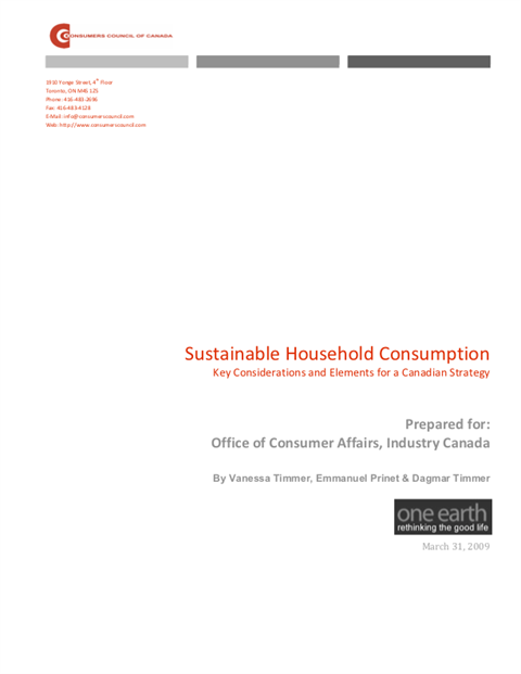 Sustainable Household Consumption: Key Considerations for a Canadian Strategy [PDF]