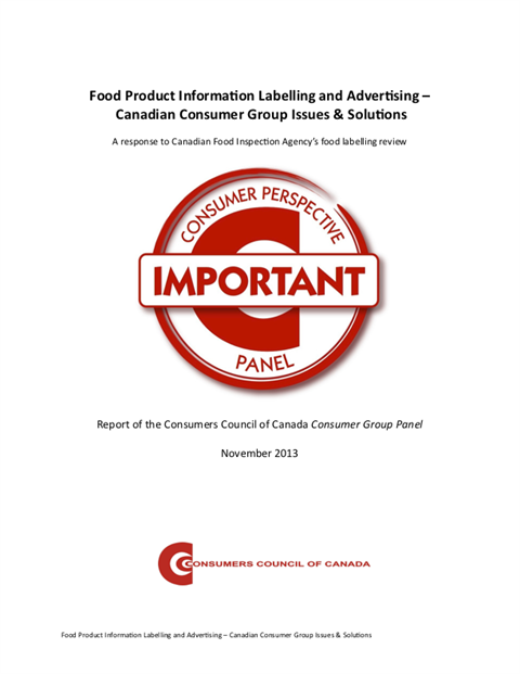 Report of the Consumer Group Panel on Food Information, Labelling and Advertising [EPUB]